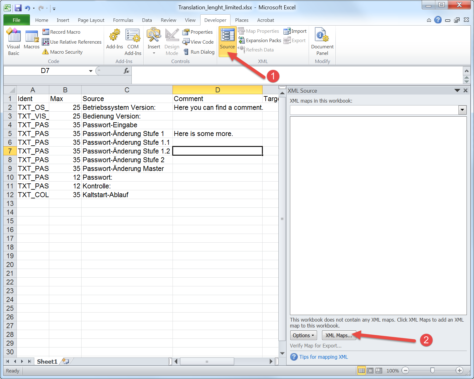 Export Excel to XML including length limitation and comments ...
